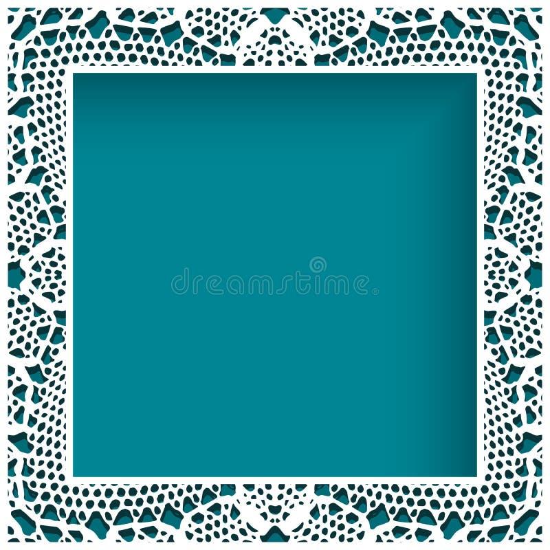 Vierkant kantkader met knipseldocument grenspatroon vector illustratie