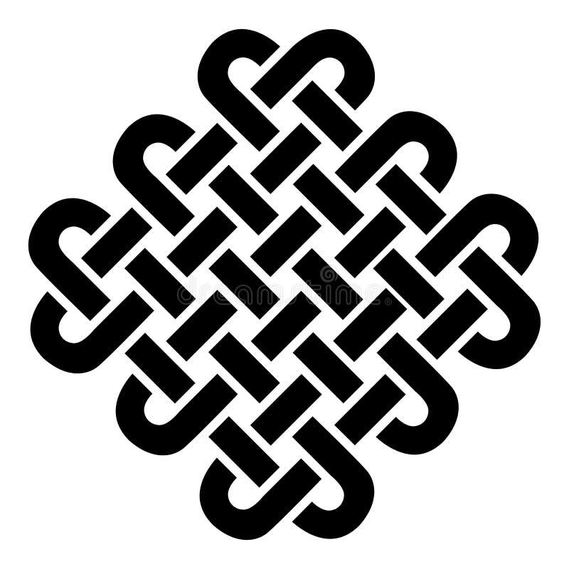 Vierkant in Keltische stijl op de patronen van de eeuwigheidsknoop in zwarte op witte die achtergrond tegen Ierse St Patricks Dag stock illustratie