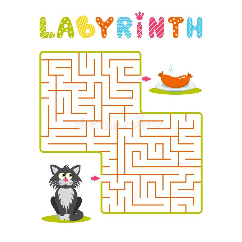 Vierkant labyrint met grijze beeldverhaalkat en plaat met worst op witte achtergrond Kinderenlabyrint Spel voor jonge geitjes De  vector illustratie