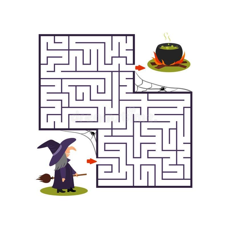 Vierkant labyrint met heks en ketel op witte achtergrond Kinderenlabyrint Spel voor jonge geitjes De kinderen brengen voor Hallow royalty-vrije illustratie