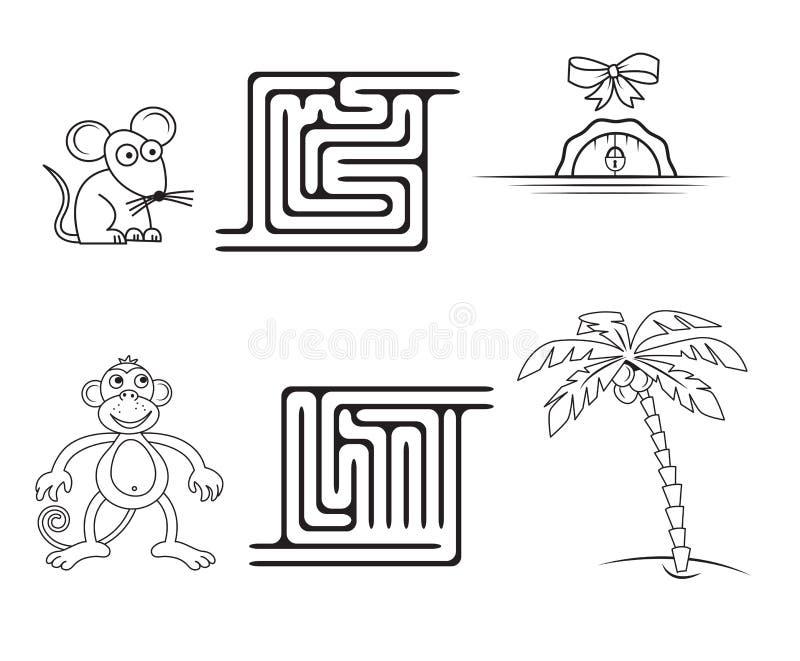 Vierkant labyrintspel voor jonge geitjes vector illustratie