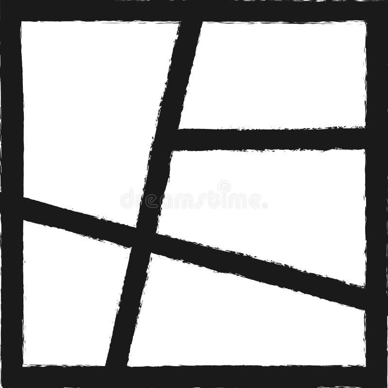 Vierkant malplaatje voor fotocollage Grungeachtergrond met kaders met ruwe borstel worden geschilderd die stock illustratie