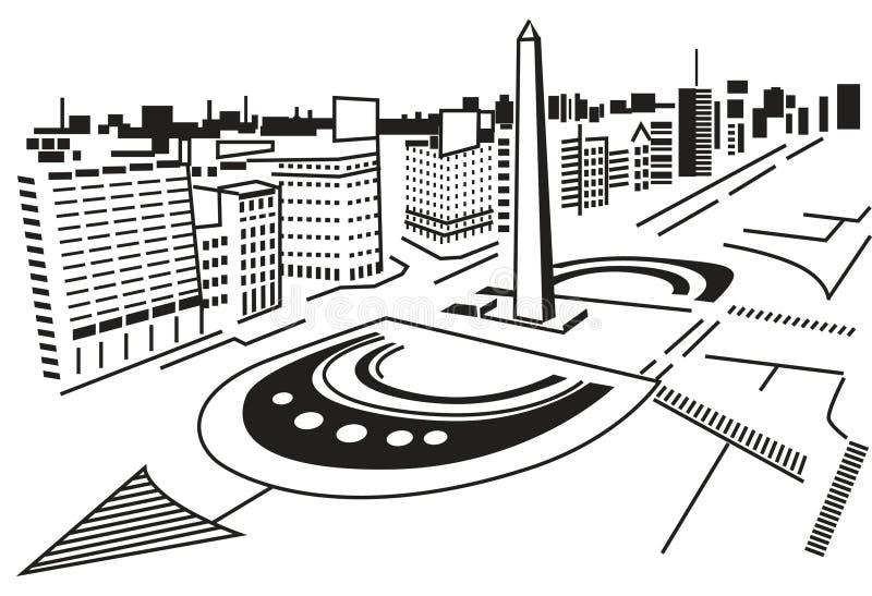 Vierkant in stad. stock illustratie