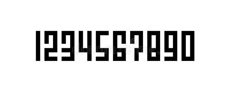 Vierkant Stijl het Van letters voorzien Aantal, Reeks van Pixel Art Numbers, van Nul tot Negen royalty-vrije illustratie
