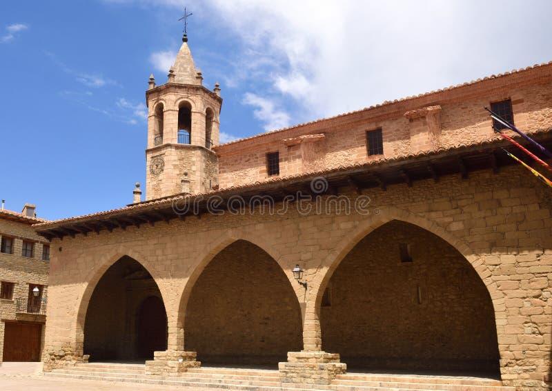 Vierkant van Cristo Rey, Cantavieja, Maestrazgo, Teruel provincie, AR royalty-vrije stock fotografie