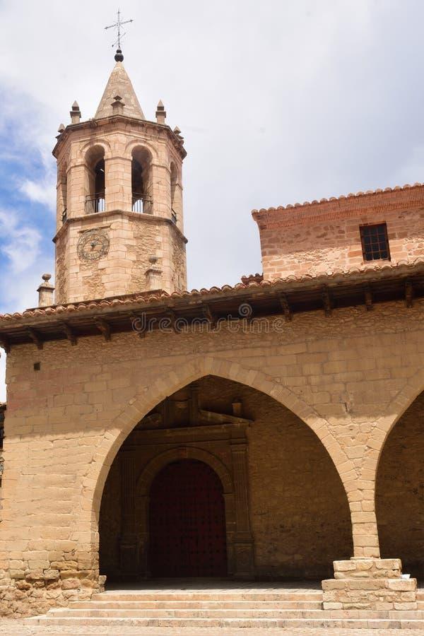Vierkant van Cristo Rey, Cantavieja, Maestrazgo, Teruel provincie, AR royalty-vrije stock foto's