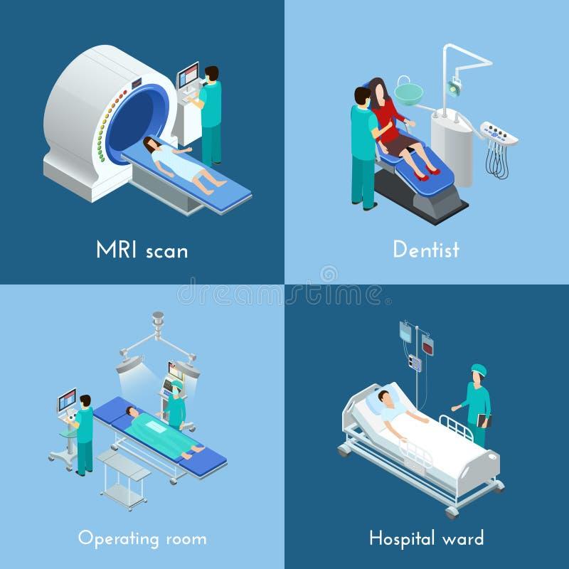 Vierkant van medische apparatuur het Isometrische 4 Pictogrammen royalty-vrije illustratie