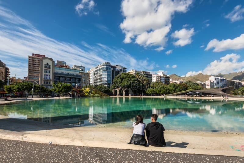 Vierkant van Spanje in Santa Cruz de Tenerife-stad, Canarische Eilanden, stock afbeelding