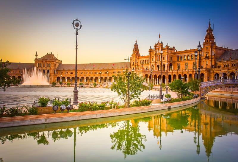 Vierkant van Spanje, Sevilla, Spanje royalty-vrije stock foto's