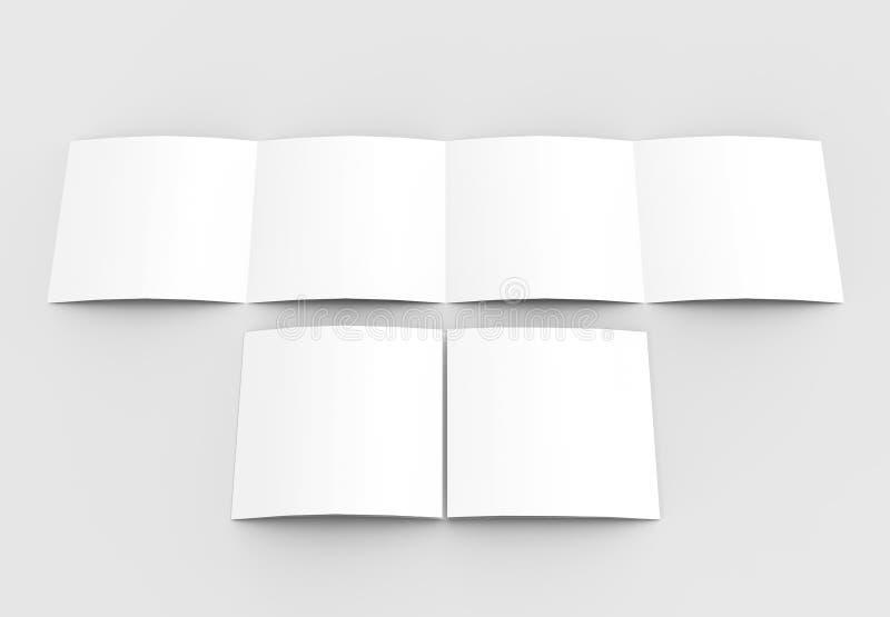 Vierkant vier gevouwen die - 4-vouwen - brochuremodel op zacht wordt geïsoleerd royalty-vrije stock foto's