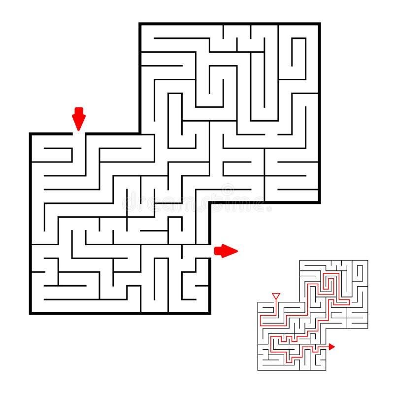 Vierkant zwart labyrint op witte achtergrond Kinderenlabyrint Spel voor jonge geitjes De kinderen brengen in verwarring De hulp v stock illustratie