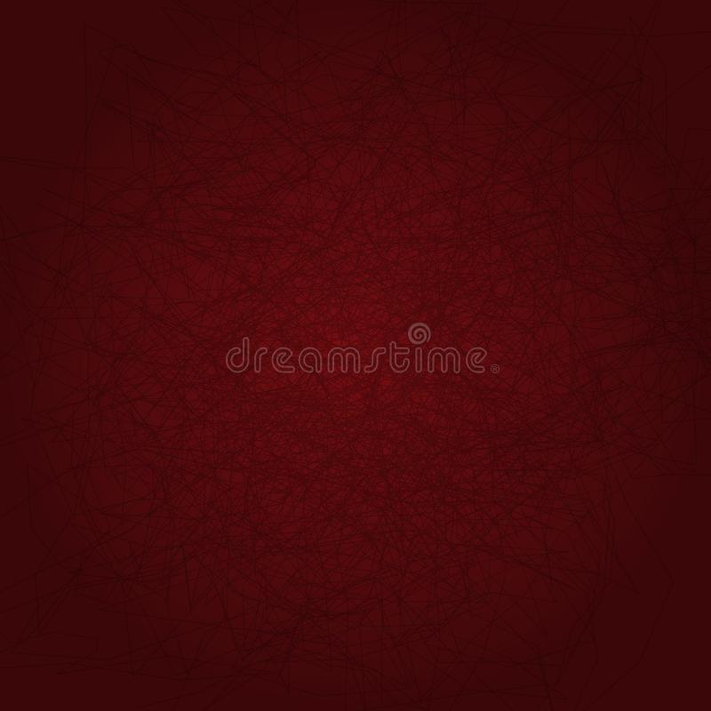 Vierkante achtergrond met gekrabbel Rood malplaatje met chaotische lijnen Vector illustratie vector illustratie