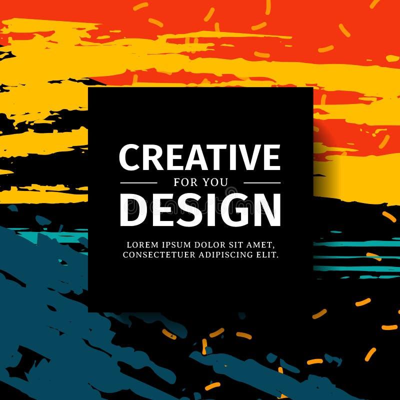 Vierkante banner van het malplaatje de kleurrijke ontwerp met textuurachtergrond Affiche voor aanbieding en tentoonstelling op ab vector illustratie