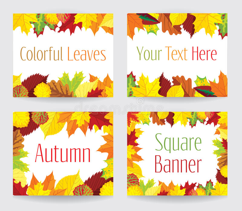 Vierkante banners met de herfstbladeren vector illustratie