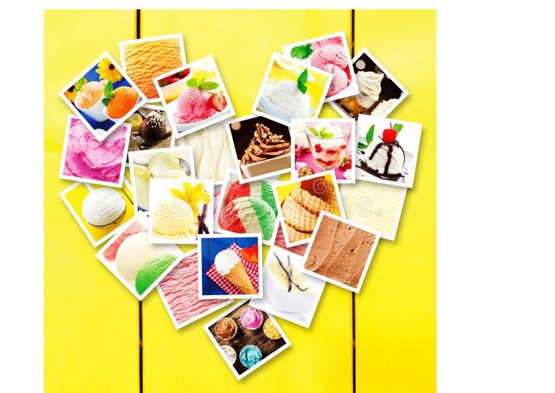 Vierkante beelden van verschillende types van roomijs stock afbeeldingen