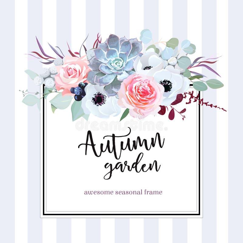 Vierkante bloemen vectorontwerpkaart royalty-vrije illustratie