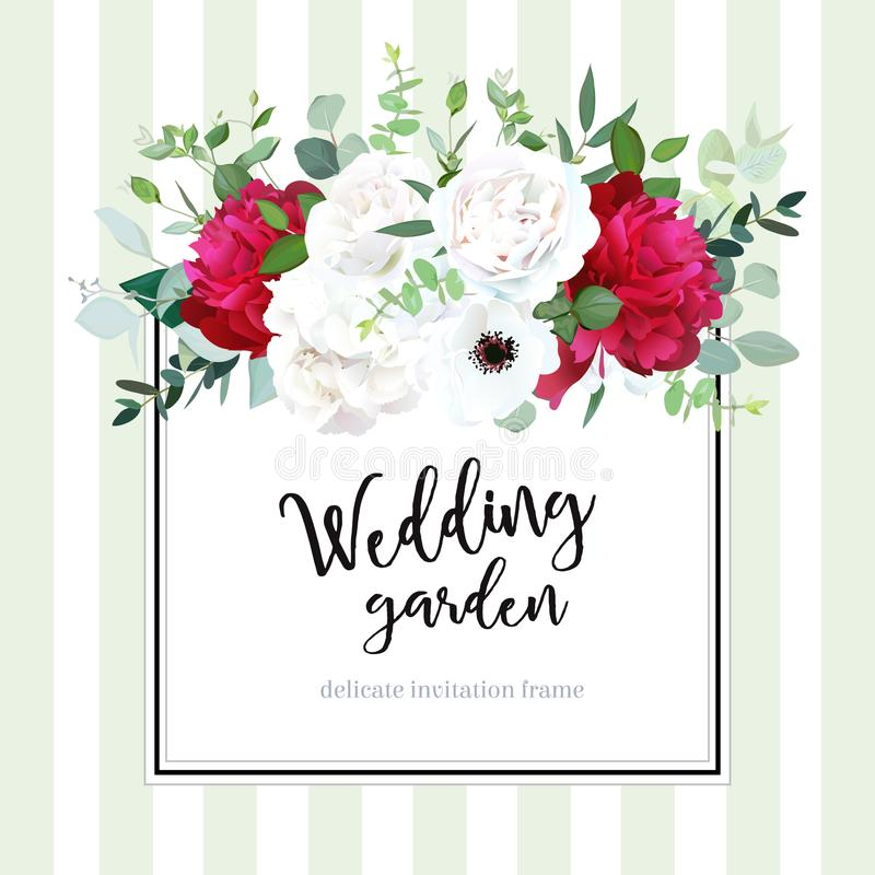 Vierkante bloemen vectorontwerpkaart in bakkerij gestreepte stijl stock illustratie