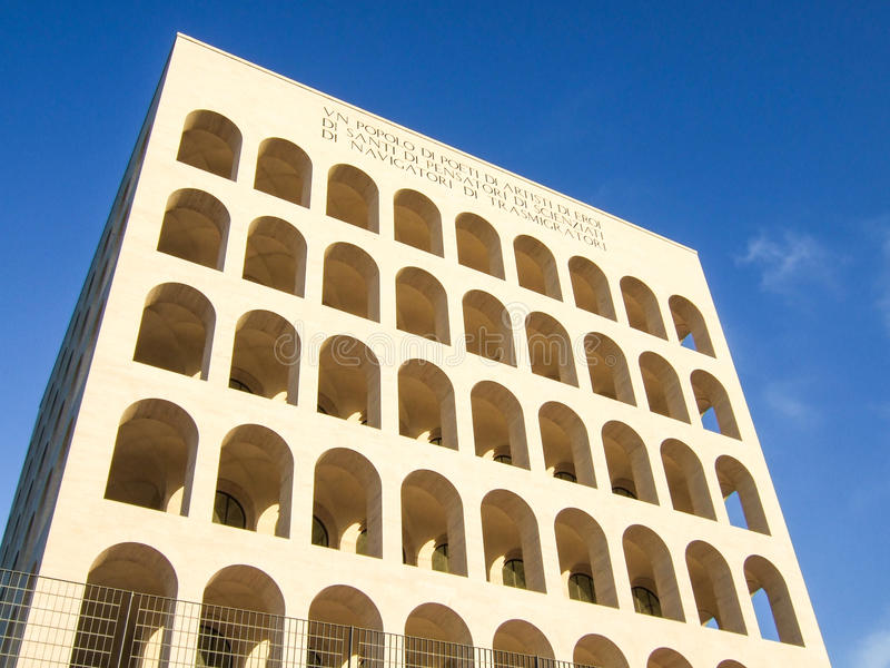 Vierkante Colosseum in Rome, Italië royalty-vrije stock afbeeldingen