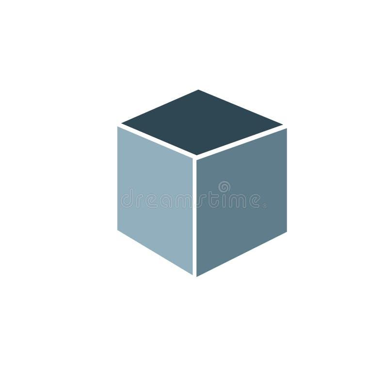 Vierkante 3D vorm editable kleur vector illustratie