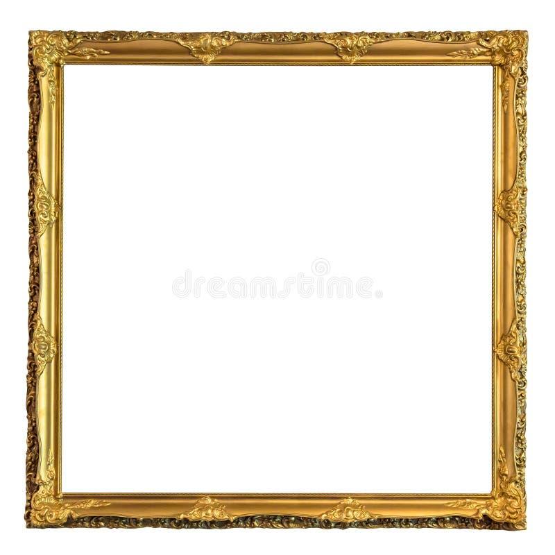 Vierkante decoratieve gouden omlijsting royalty-vrije stock afbeeldingen