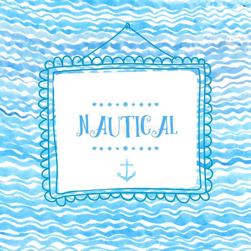 Vierkante die kaderhand op de mariene textuur van de golfwaterverf wordt getrokken Vector artistieke achtergrond vector illustratie