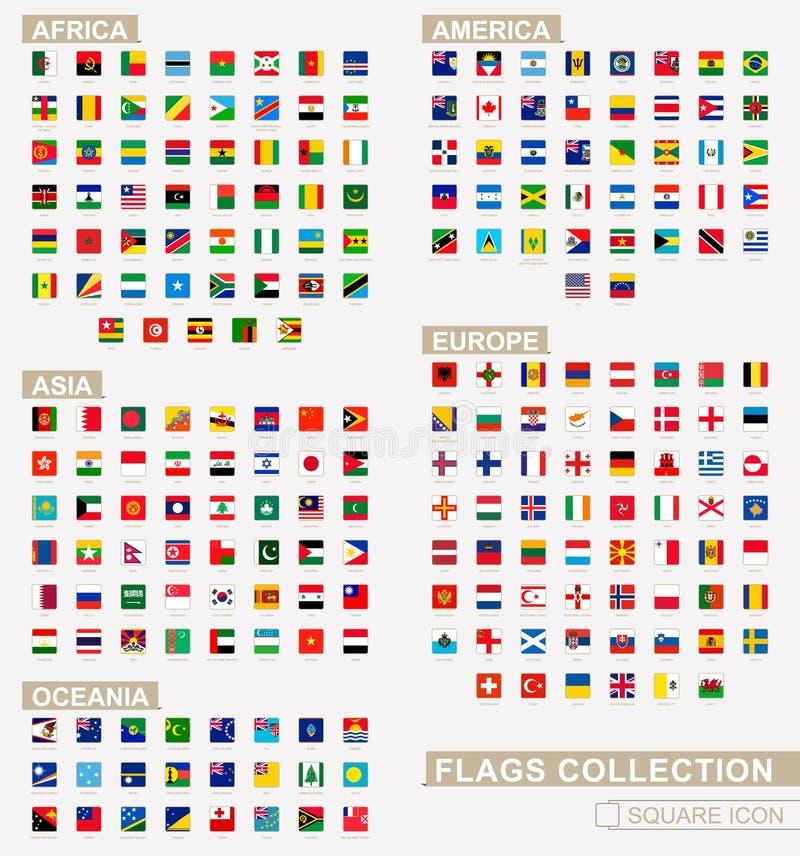 Vierkante die vlaggen van de Wereld, door continenten wordt gesorteerd en alfabetische inzameling stock illustratie
