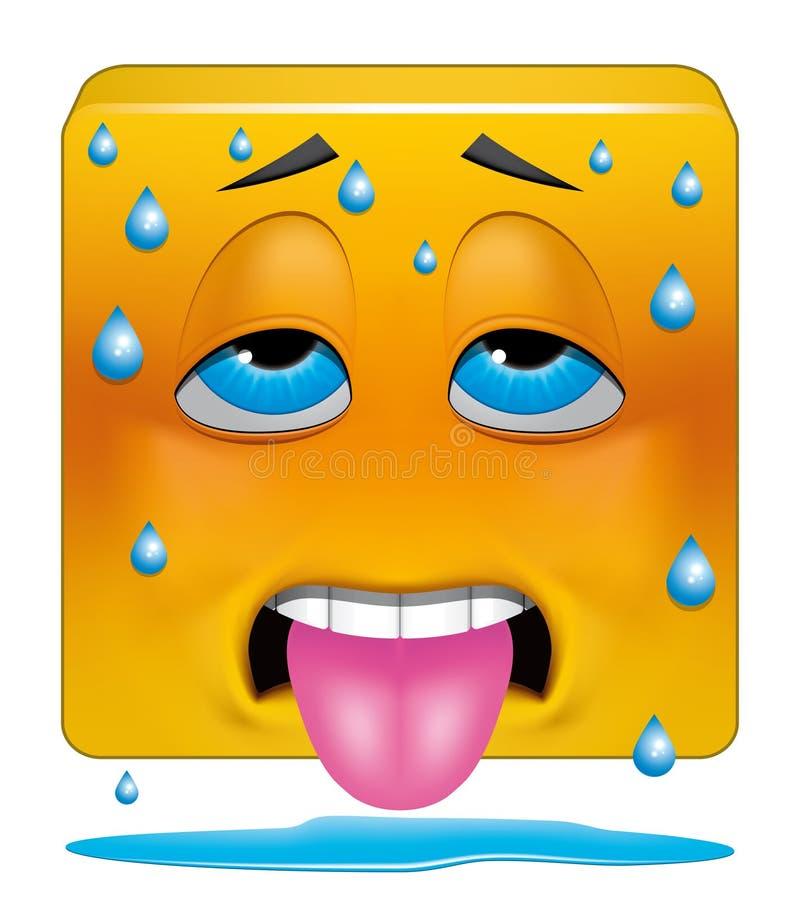 Vierkante emoticon het zweten hitte vector illustratie