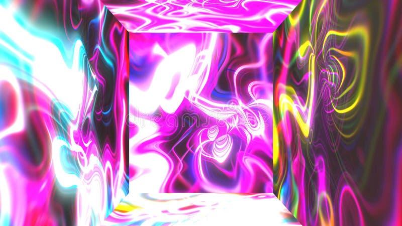 Vierkante futuristische ruimte met de abstracte visuele illusie van de gloedenergie op muren, 3d het teruggeven computer die acht royalty-vrije illustratie