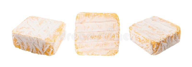 Vierkante Gele Zachte Franse Kaas met een Witte Vorm royalty-vrije stock foto's