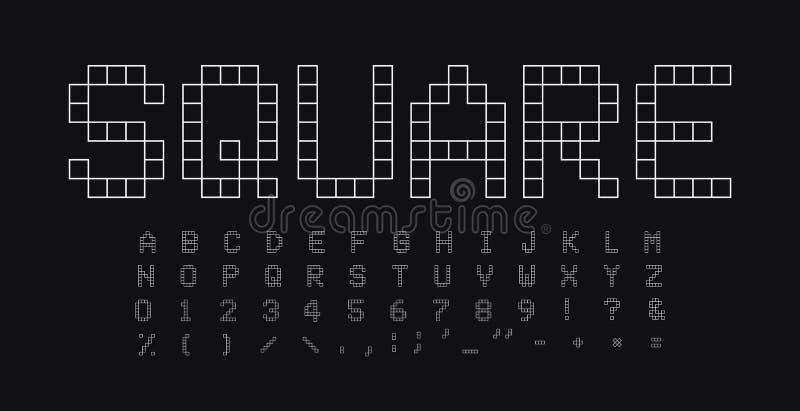 Vierkante geplaatste vormenletters en getallen Geometrisch eenvoudig lineair stijl vector Latijns alfabet Doopvont voor gebeurten vector illustratie