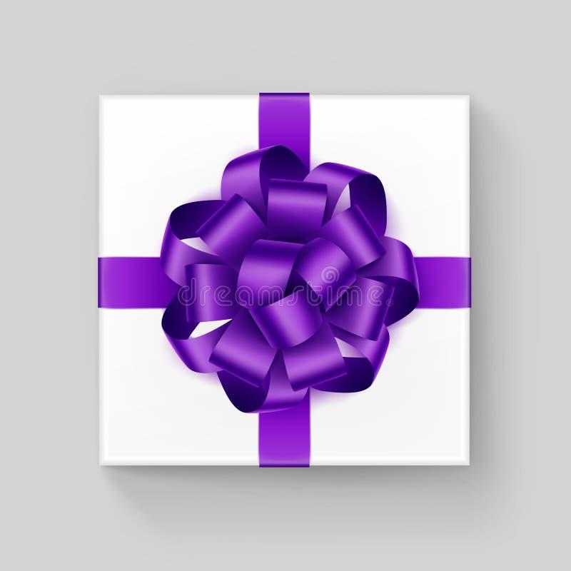 Vierkante Giftdoos met Purpere Violet Ribbon Bow royalty-vrije illustratie