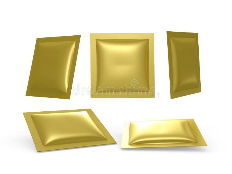 Vierkante Gouden foliehitte - verzegeld pakket met het knippen van weg stock illustratie