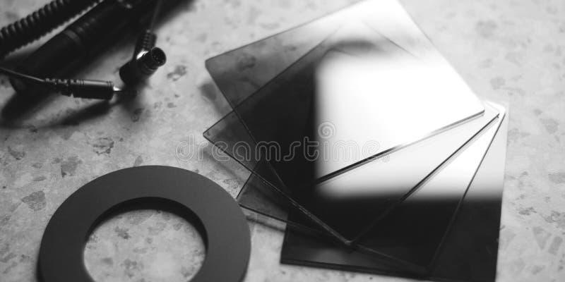 Vierkante gradiëntfilters met verschillende dichtheid, stock foto's