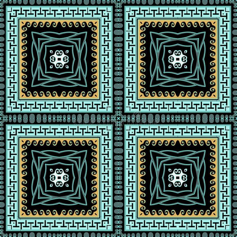 Vierkante griekse kleurige vector naadloos patroon Ornamental-ingecheckte etnische achtergrond Herhaal abstracte tribale achtergr stock illustratie