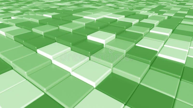 Vierkante groene tegelsachtergrond, het 3D teruggeven royalty-vrije illustratie