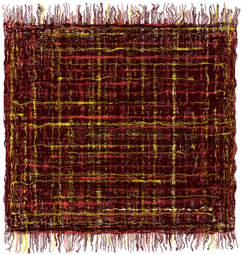 Vierkante grunge gestreepte kleurrijke mat met rand vector illustratie
