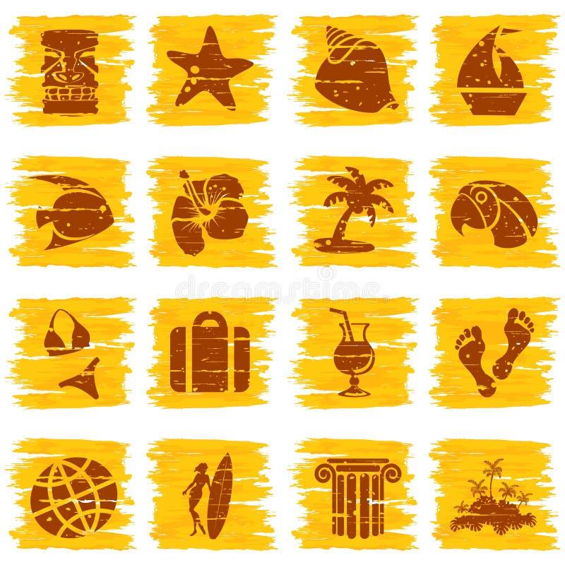 Vierkante grungy tropische knopen in zonnige tonen vector illustratie