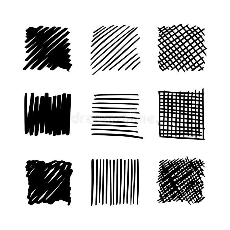 Vierkante hand getrokken reeks vector illustratie