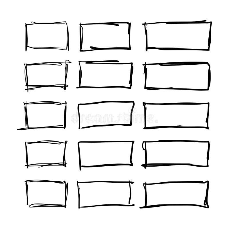 Vierkante hand getrokken reeks royalty-vrije illustratie