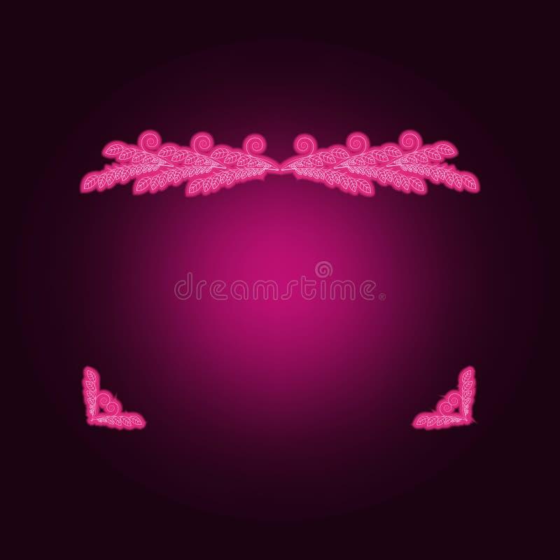 Vierkante hoek zilveren kader of grens van willekeurig het neonpictogram van verspreidingsharten Elementen van Kaderreeks Eenvoud stock illustratie