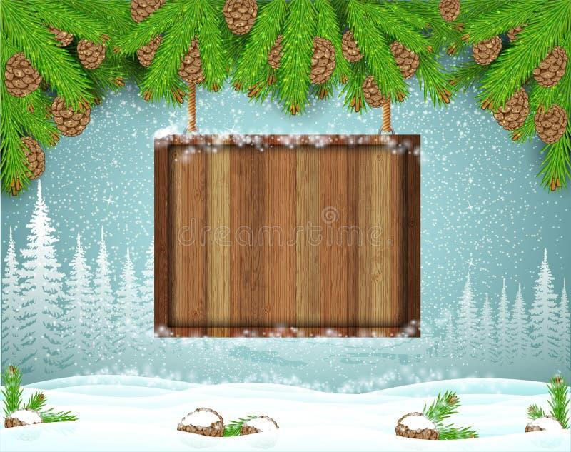 Vierkante houten die grens van de brunches van de feerboom op het landschap van de de wintervorst wordt gehangen Horizontale Kers stock illustratie