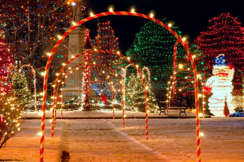 Vierkante Kerstmis van het dorp royalty-vrije stock afbeelding