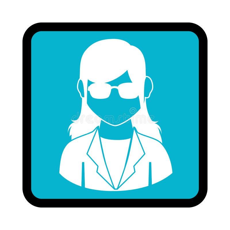 Vierkante knoop met silhouet uitvoerende vrouw vector illustratie
