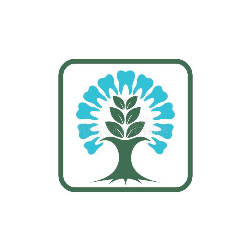 Vierkante Kruiden Tandgezondheidsgeneeskunde Logo Symbol vector illustratie