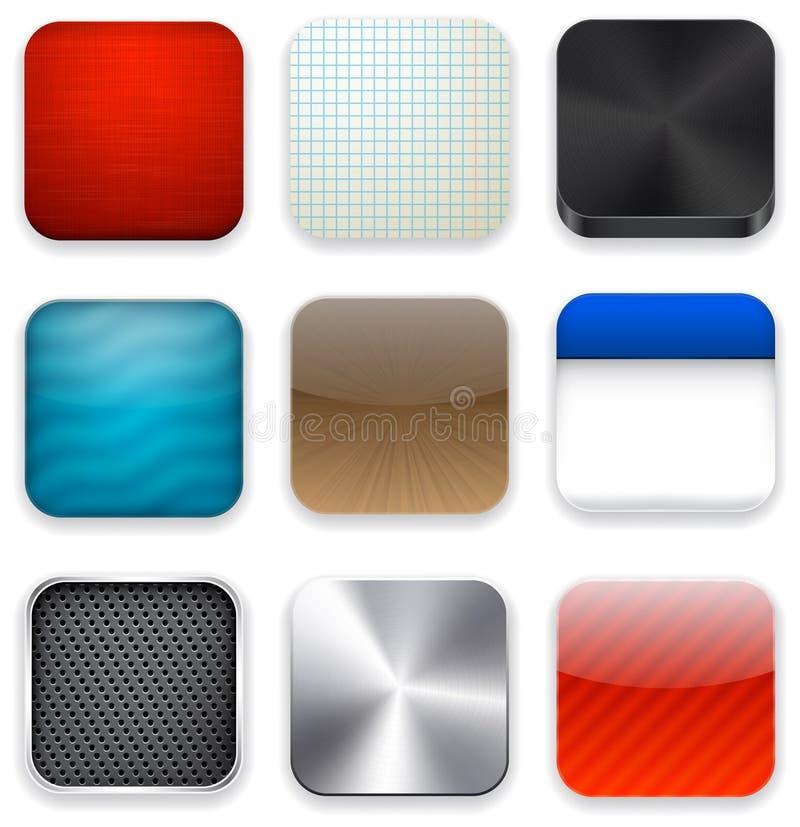 Vierkante moderne app malplaatjepictogrammen. stock illustratie