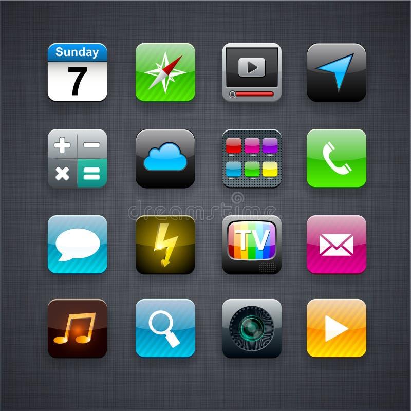 Vierkante moderne app pictogrammen. royalty-vrije illustratie