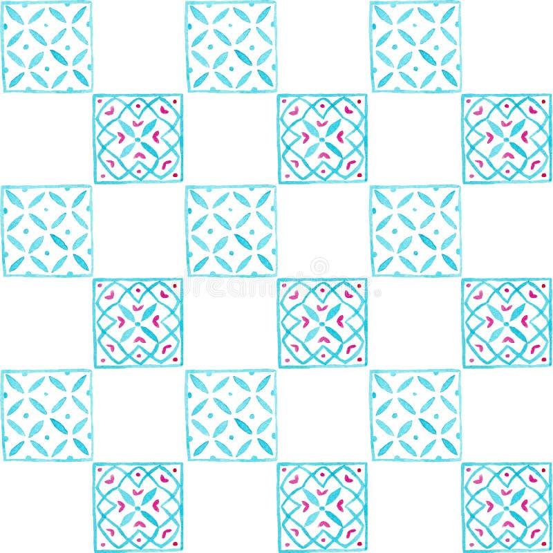 Vierkante mozaïek van het waterverf het met de hand gemaakte patroon voor textiel, stof, behang royalty-vrije illustratie