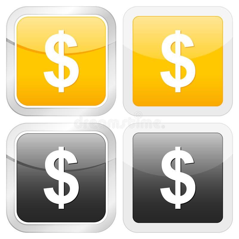 Vierkante pictogramdollar stock illustratie