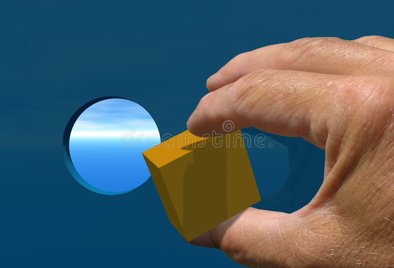 Vierkante Pin om Gat stock foto