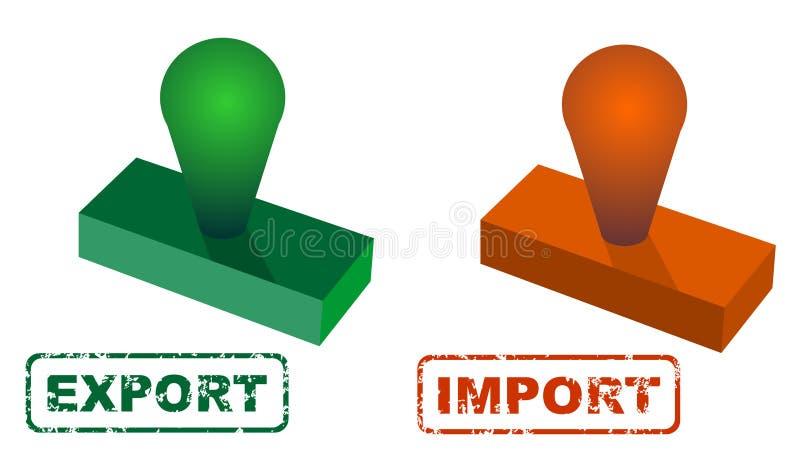 Vierkante rubber de verbindingszegel van de Grungeinvoer-uitvoer royalty-vrije illustratie